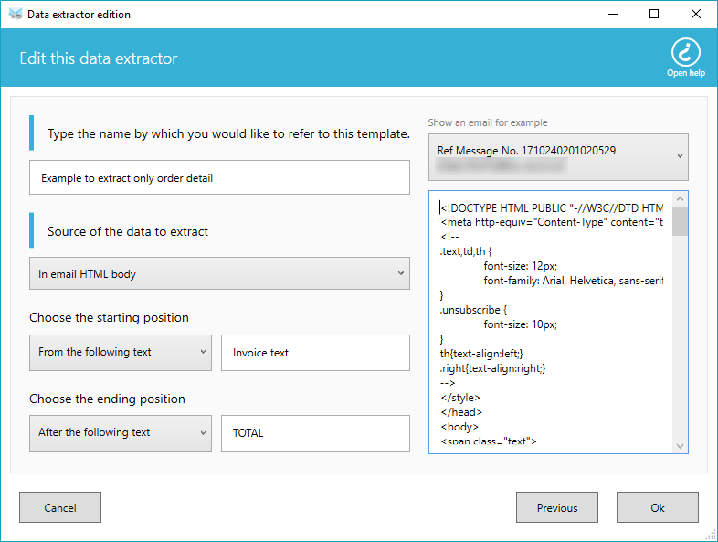 Extra email data options