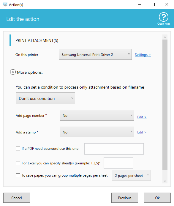 Screenshot of printing attachment options