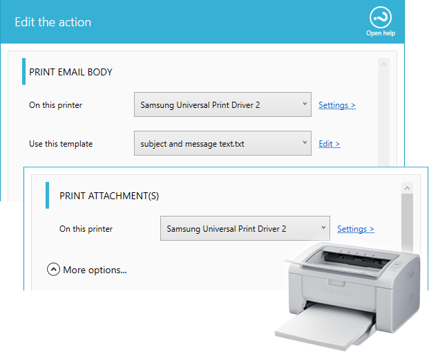 Printer for email and attachment