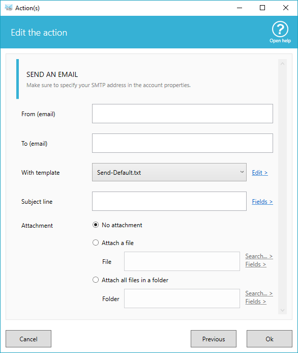 Sending email options