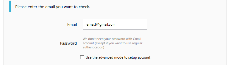Account edition with gmail