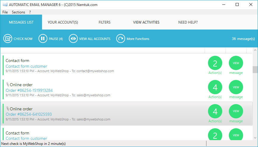Automatic Email Manager Screen shot