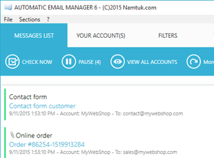 Main interface for Automatic Email Manager