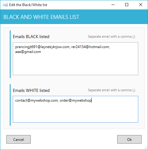 Emails blacked or white